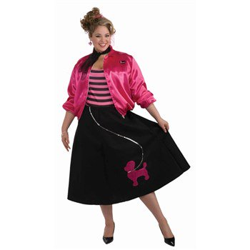 Poodle Skirt Set Women's Plus Size Halloween Costume, Women's Plus