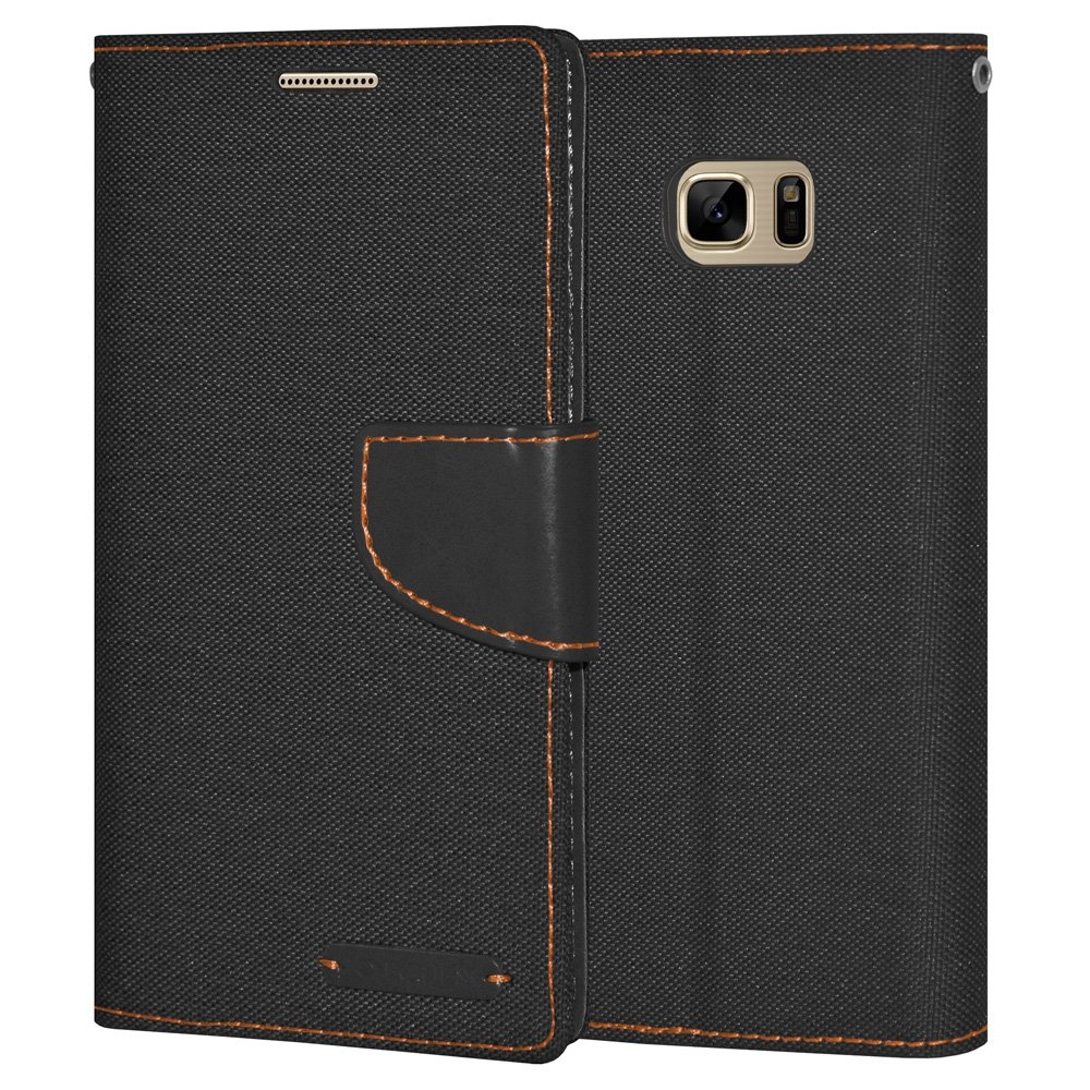 Premium Black Canvas Pocket Wallet Credit Card Holder Flip Case Folio Cover for Samsung GALAXY Note7 N930 with Detachable Cell Phone Neck Lanyard