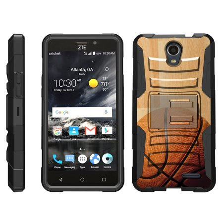 TurtleArmor ® | For ZTE Prestige 2 | Maven 3 | Overture 3 | Prelude Plus [Hyper Shock] Hybrid Dual Layer Armor Holster Belt Clip Case Kickstand - Hardwood Basketball ()