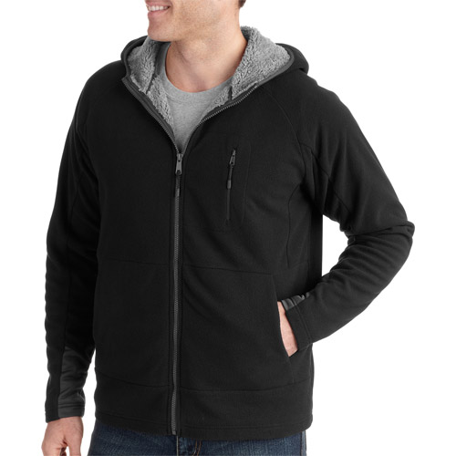 Faded Glory Big Men's Tech Full Zip Hoodie with Sherpa Lining
