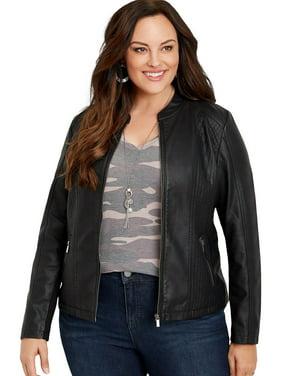 Plus Size Faux Leather Princess Seam Jacket