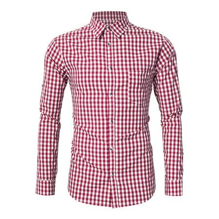 Kojooin Oktoberfest Checked Shirts For Men in Red, Lederhosen Shirts, Trachten - Lederhosen For Babies