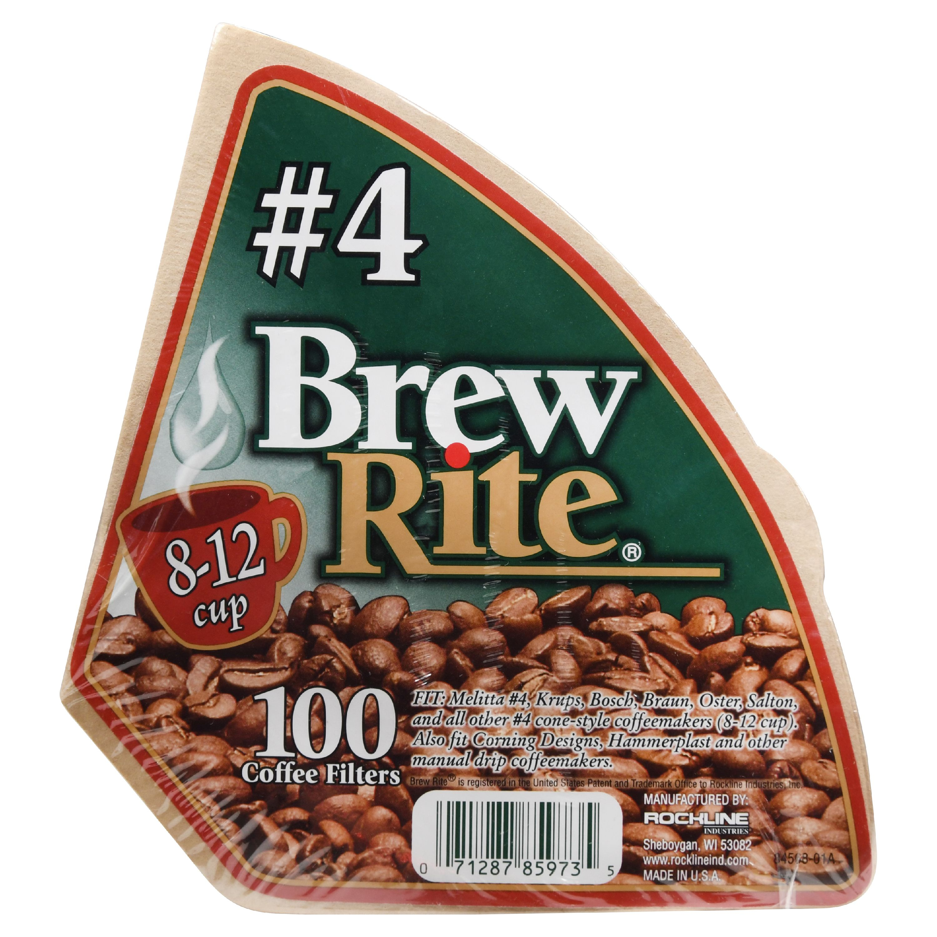 (8 Pack) Brew Rite #4 Cone Coffee Filter, 100 Ct