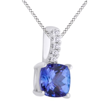 Cushion Cut Simulated Tanzanite With Natural Diamond Solitaire Pendant Necklace In 10K Solid White GoldBy Jewel Zone US