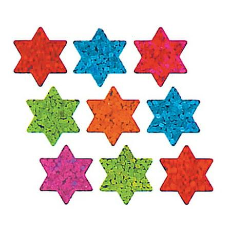 Bulk Roll Prismatic Stickers, Micro Stars of David / Multicolor (100 Repeats)](Rolls Of Stickers)