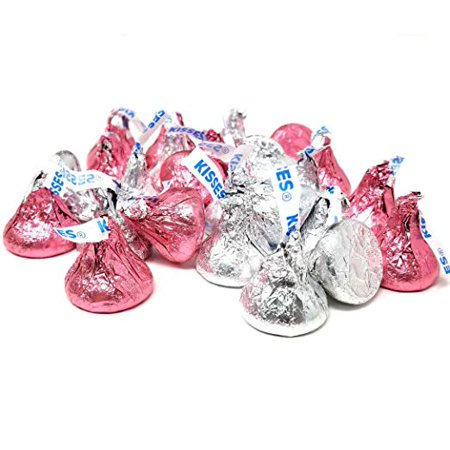 Pink And Silver Hershey Kisses (Hershey's Kisses Milk Chocolate, Silver and Pink Foil, 1 pound)