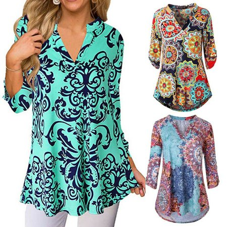 Plus Size Women Summer Gypsy Baggy Tunic Tops Shirt Long Sleeve Blouse Floral