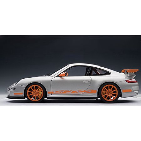 PORSCHE 911 (997) GT3 RS - SILVER WITH ORANGE STRIPES Diecast Model Car by  AUTOart in 1:12 Scale