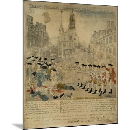 the boston massacre engraving wood mounted print by paul revere