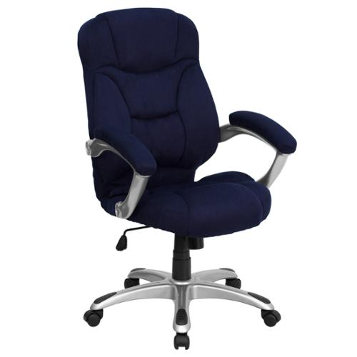 A Line Furniture Malaga Executive Navy Blue Microfiber Adjustable Swivel Office Chair with Padded Arms