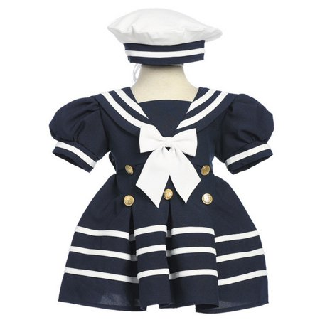 Baby Girls Navy White Bow Dress Hat Sailor Outfit (Sailor Patriotic Dress)