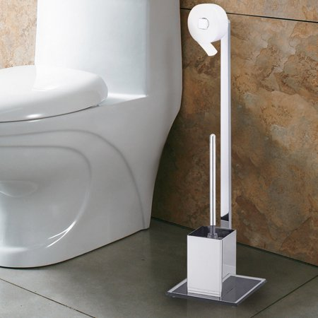 Costway Toilet Bowl Brush Holder Free Standing with Paper Roll Holder and Brush Bathroom