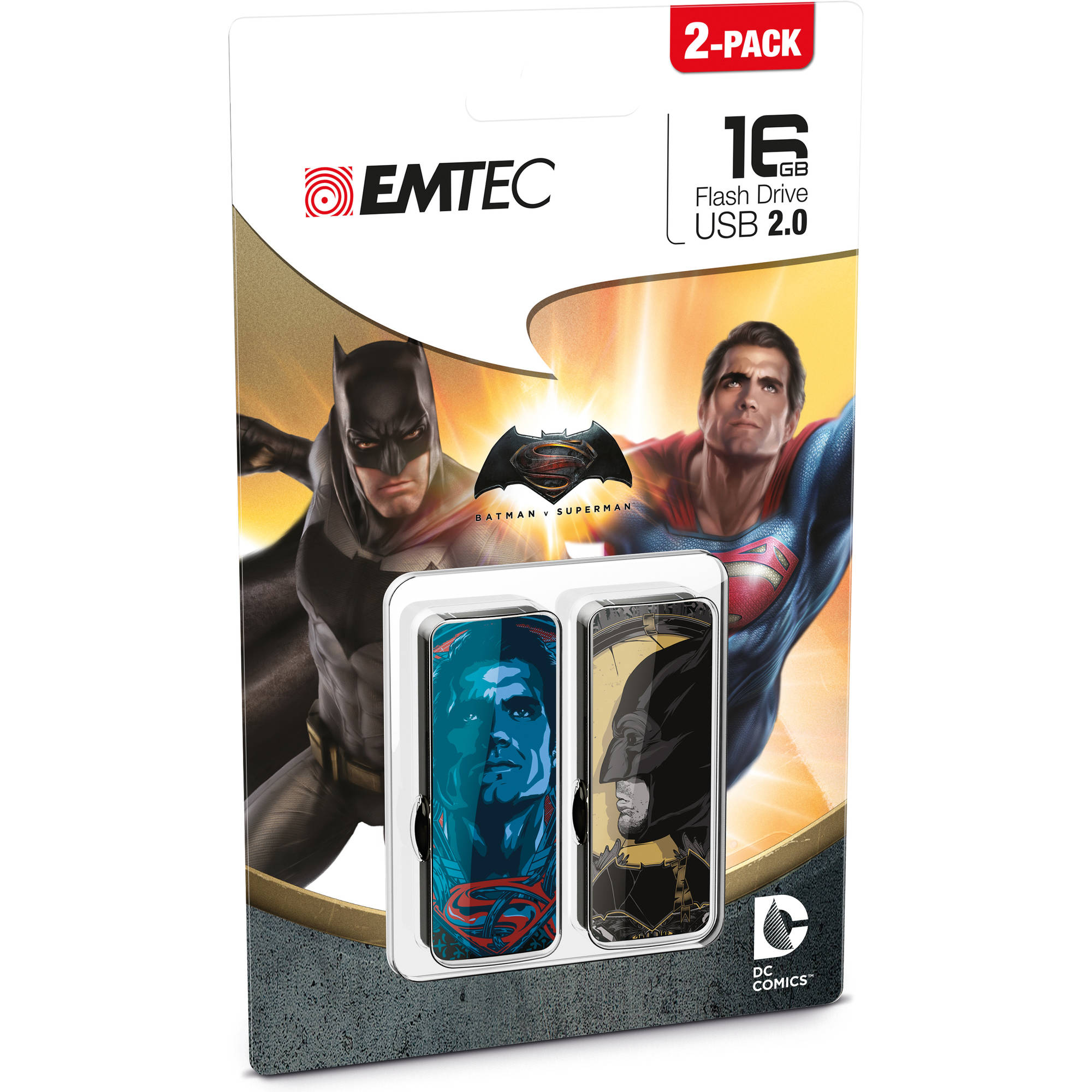 EMTEC 16GB Batman V Superman: Dawn of Justice USB 2.0 Flash Drive, 2-Pack