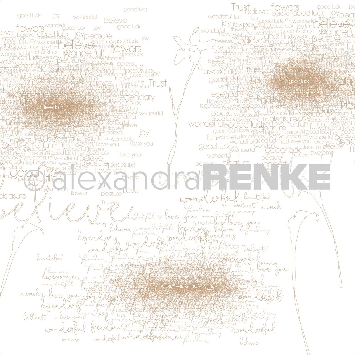 "Alexandra Renke Magic Flowers Design Paper 12""X12""-Gold Type & Flowers - image 1 de 1"