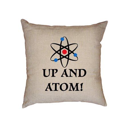 Up and Atom - Wake Up Electrons and Nucleus Decorative Linen Throw Cushion Pillow Case with