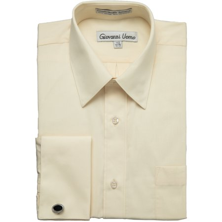 Gentlemens Collection Men's 1916FC French Cuff Solid Dress Shirt - Butter - 20 6-7 Gentlemens Collection