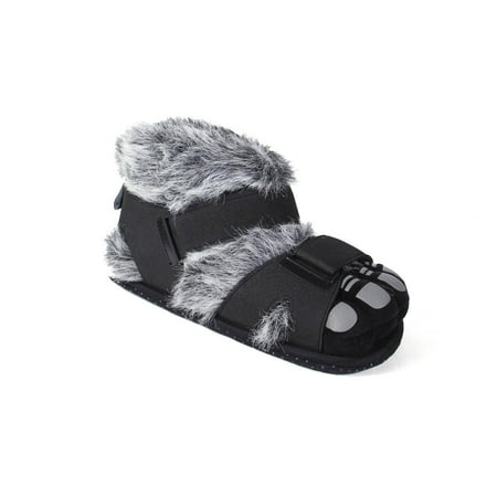 237248b83a244 Happy Feet Mens and Womens Gray and Black Hairy Feet Animal Slippers