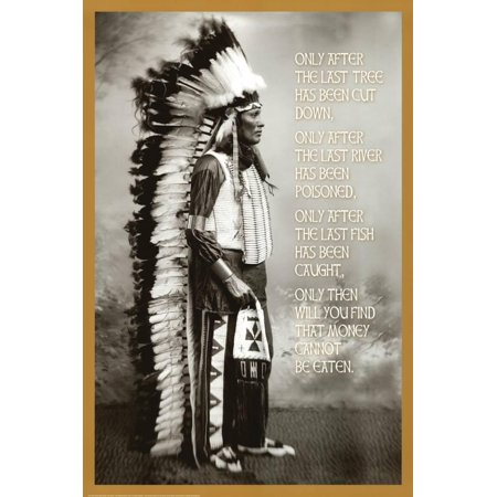 Native American Paint - Chief White Cloud (Native American Wisdom) Art Poster Print Poster - 24x36