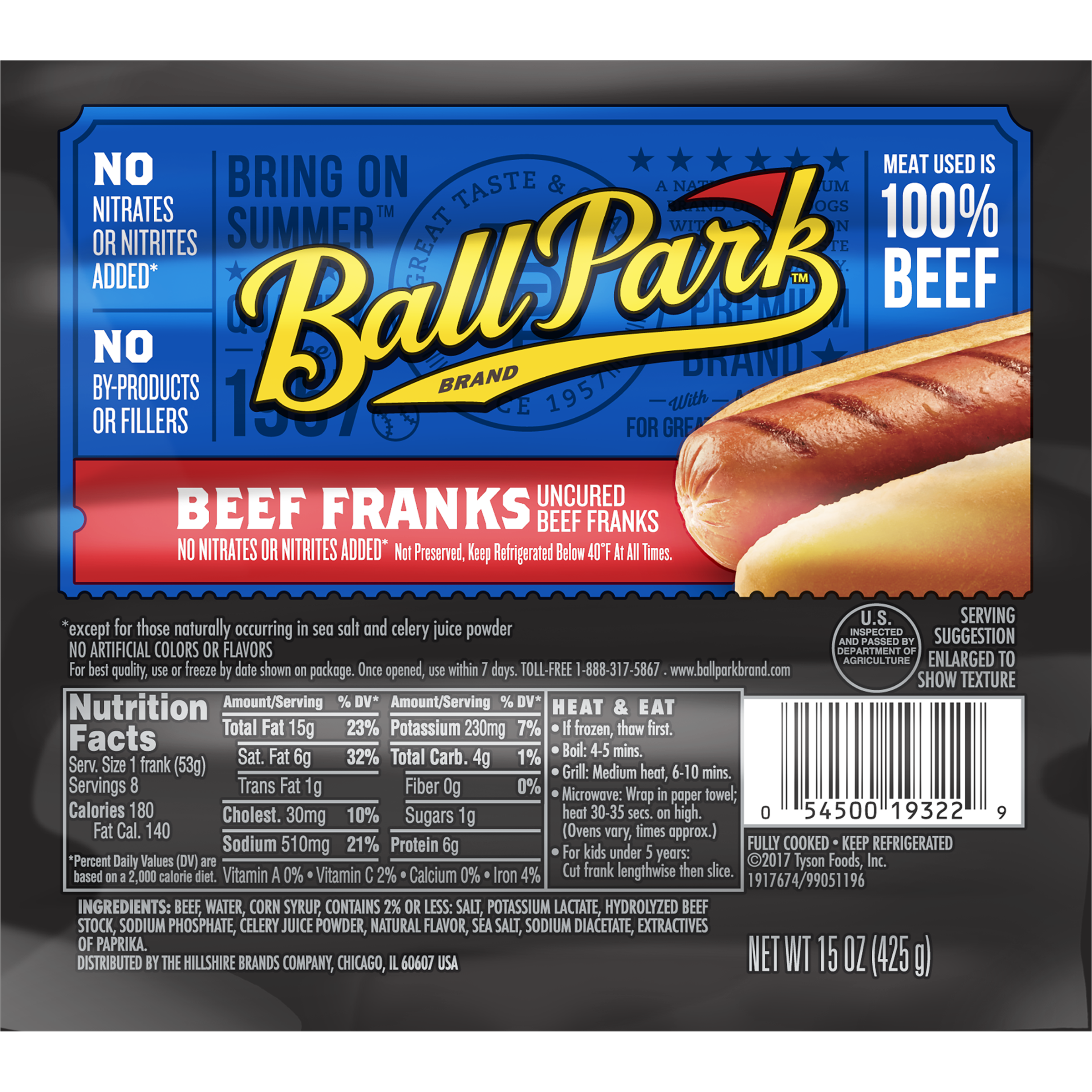 Ball Park® Beef Hot Dogs, Original Length, 8 Count