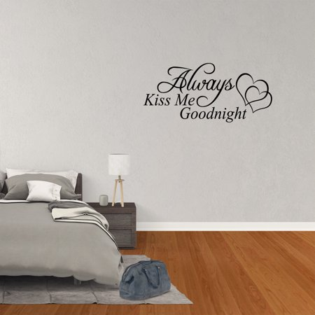 Always Kiss Me Goodnight Wall Decal Quote Vinyl Word Home Sticker Art JR13