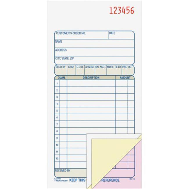 Adams Business Forms TC3705 3.25 x 7.12 in. Three-Part Carbonless Carbonless Sales Order Book, 50 SHeets by Adams Business Forms