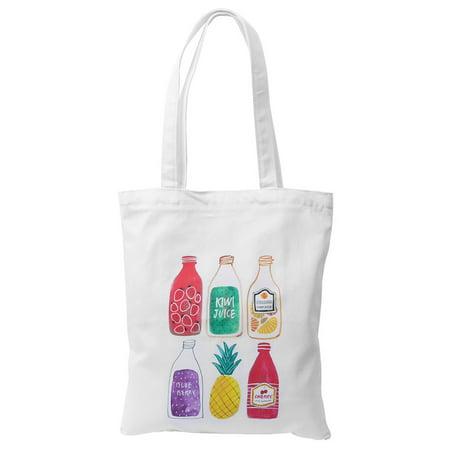 Fruit Craft (Women Travel Canvas Fruit Juice Print Zip Up Craft Cosmetic Book Tote Bag)