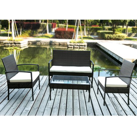 Merax 4 PC Outdoor Rattan Furniture Set Patio Wicker Cushioned Set Garden Sofa Set(Cushion Beige) ()
