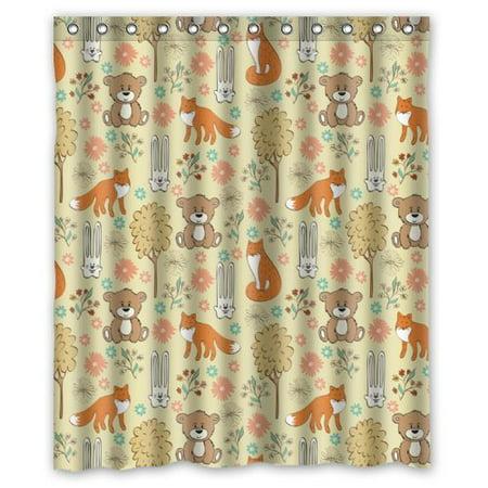 HelloDecor Cartoon Style Bear Fox And Rabbit Shower Curtain Polyester Fabric Bathroom Decorative Size 60x72