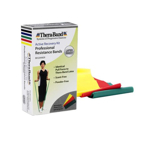 TheraBand Professional Non-Latex Resistance Bands, Yellow & Red & Green, Beginner Set