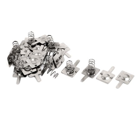 Unique Bargains Metal AA Battery Spring Contact Lamination Plate Terminal Silver Tone (Contact Terminal)