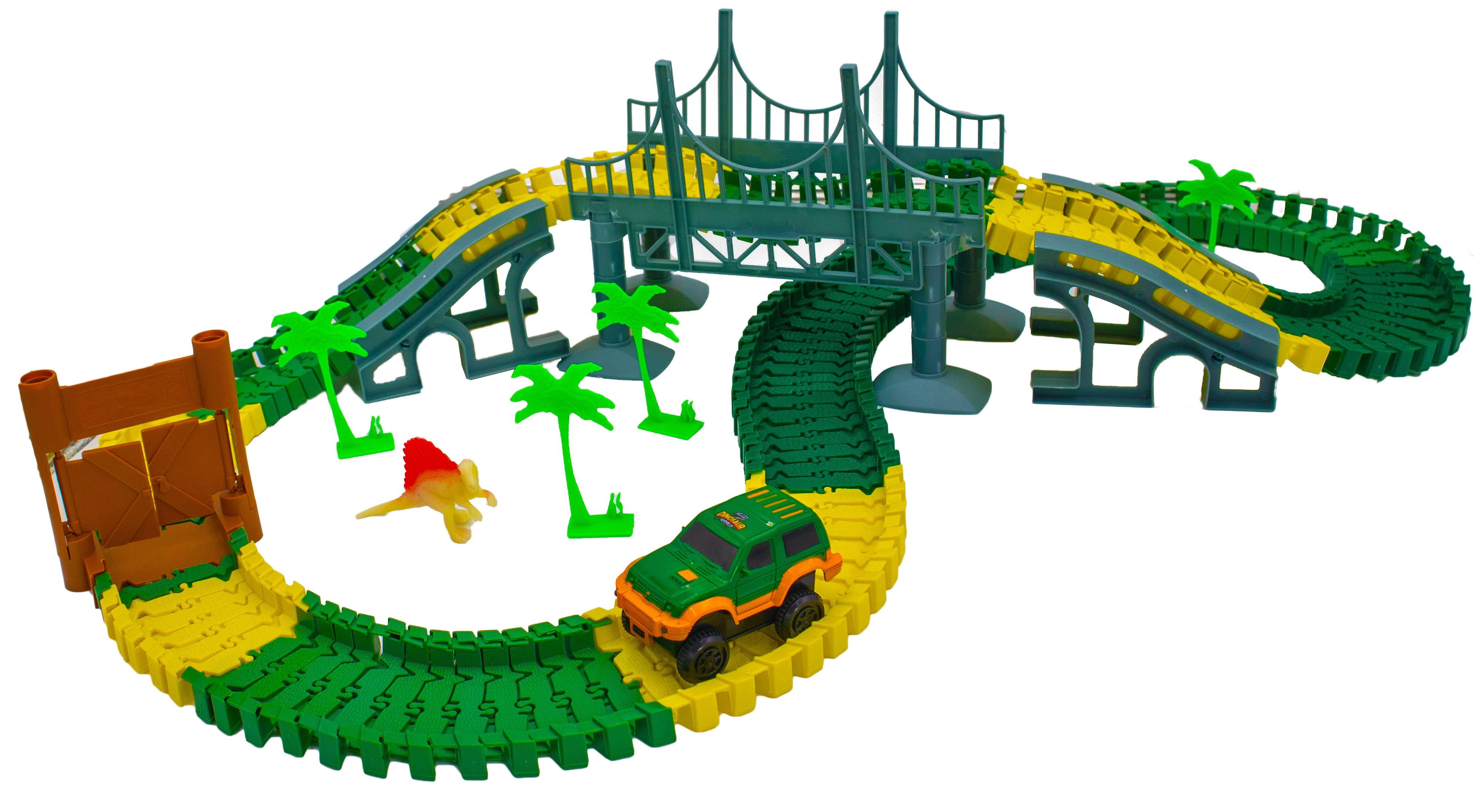 Magic Dinosaur Twisting Race Car Track Flexible Bending Glow In The Dark Traxs W Dino Slot Car Race Track Toy Walmart Com Walmart Com