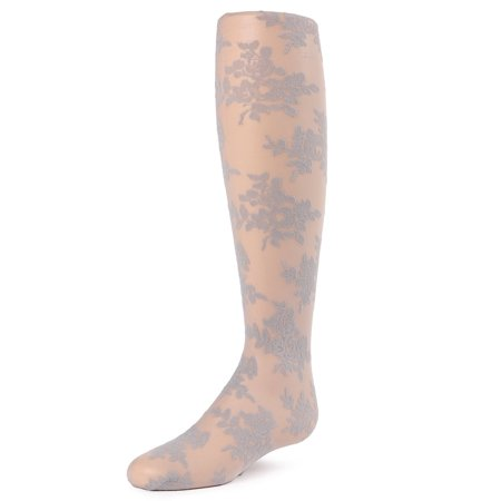 MeMoi Fancy Floral Tights | Childrens Sheer Tights by MeMoi 2-4 / Silver MK - Floral Design Tights