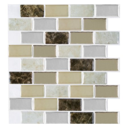 Achim Magic Gel Bronze Granite Self Adhesive Vinyl Backsplash Wall Tile 9.125x9.125 - 1 Tile/0.75 sq (Discount Granite Tiles)