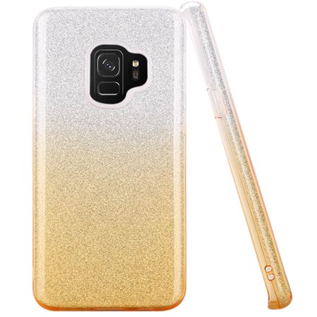 For Samsung S9 Two Tone Glitter Hybrid Case Cover - (Gold Two Tone Case)