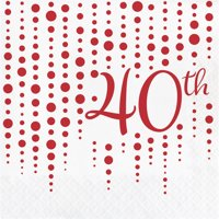 "Club Pack of 192 Red and White ""40th"" Printed Square 2-Ply Luncheon Napkins 12.75"""