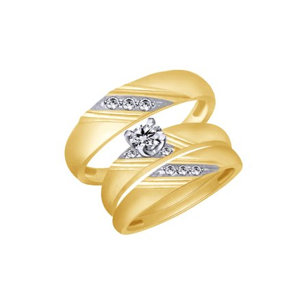 White Natural Diamond Accent Wedding & Engagement Trio Band Ring Set In 10k Yellow Gold (0.07 Cttw)