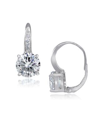 Cubic Zirconia and Sterling Silver Pave Leverback Earrings
