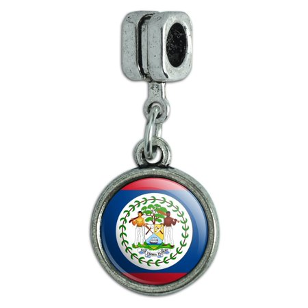 Belize National Country Flag Italian European Style Bracelet Charm Bead