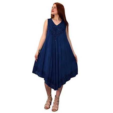 - Peach Couture Classic Denim Uneven Hem Caftan Dress Long Tunic Cover up (One Size, V-Neck Navy Denim)