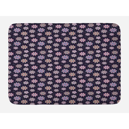 Flower Bath Mat, Sixties Inspired Floral Arrangement with Blowball and Dots Background Retro Image, Non-Slip Plush Mat Bathroom Kitchen Laundry Room Decor, 29.5 X 17.5 Inches, Multicolor, Ambesonne (Sixties Flower Power)
