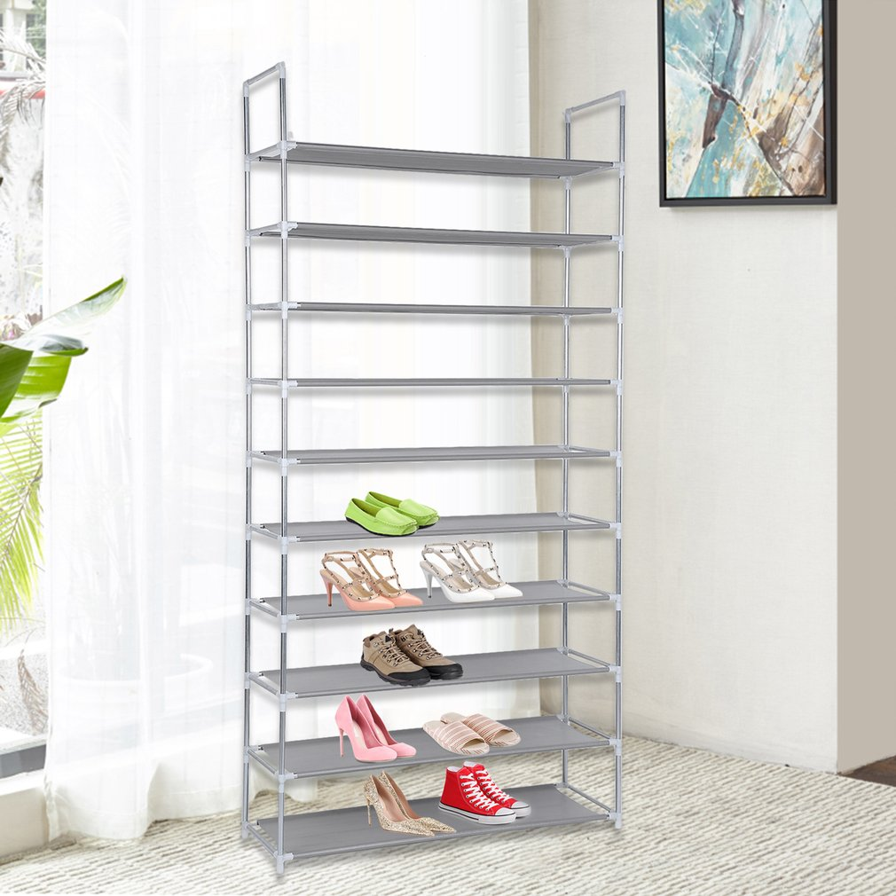 Capacity 50 Pair 10 Tier Storage Organizer Space Saving Shoes Tower Rack Lightweight Shoes Rack With Armrest Stackable Closet