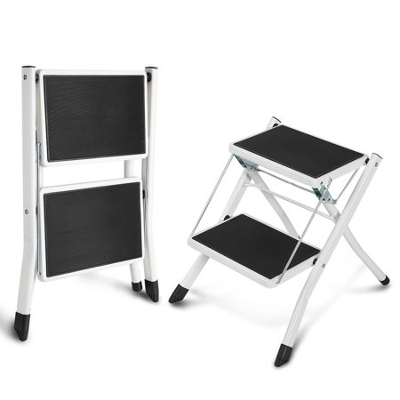 Anauto Anti- Slip Little Giant 2 Tread Safety Step Ladder Folding Step Stools With Tool Tray, Anti- Slip Folding ladder,Folding (Gorilla 3 Step Folding Ladder With Tray)
