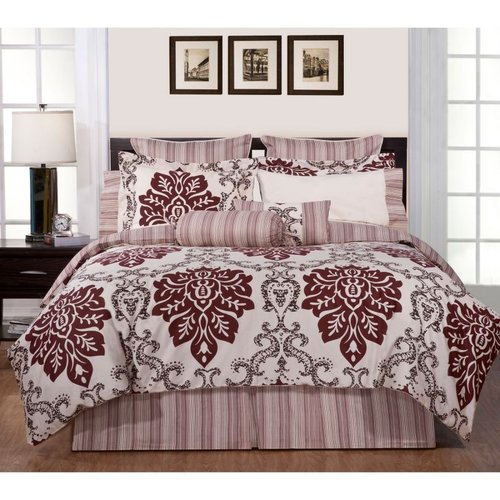 Pointe Haven 9-Piece 100% Cotton Country Ridge Luxury Bedding Ensemble Twin