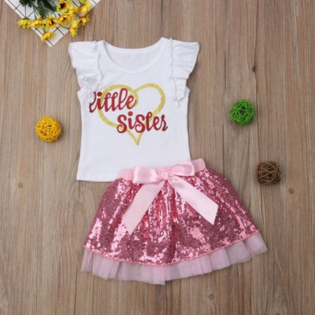 Girls Clothes Big Sister Little Sister Matching Outfits Sequin Tulle Shirt Skirt Clothes Sets](Matching Toddler And Infant Outfits)