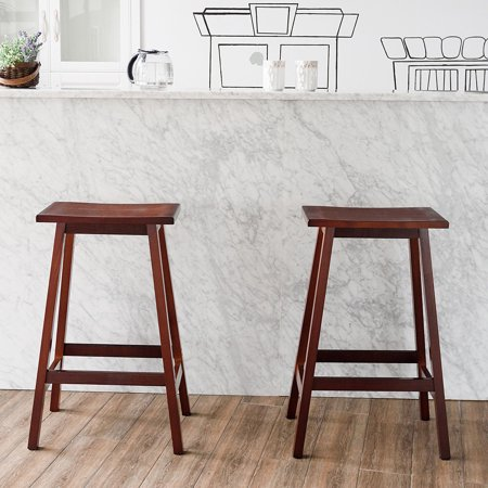Swell Gymax 2Pc Saddle Seat Wood Bar Stool Chair Counter Height Beveled Seat Kitchen Garden Uwap Interior Chair Design Uwaporg
