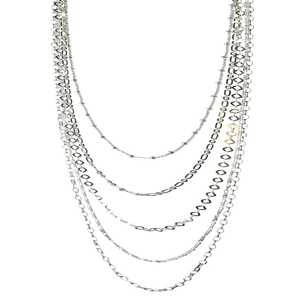 Sterling Silver Multi-strand Long Layered Chain Necklace Italy, 36""