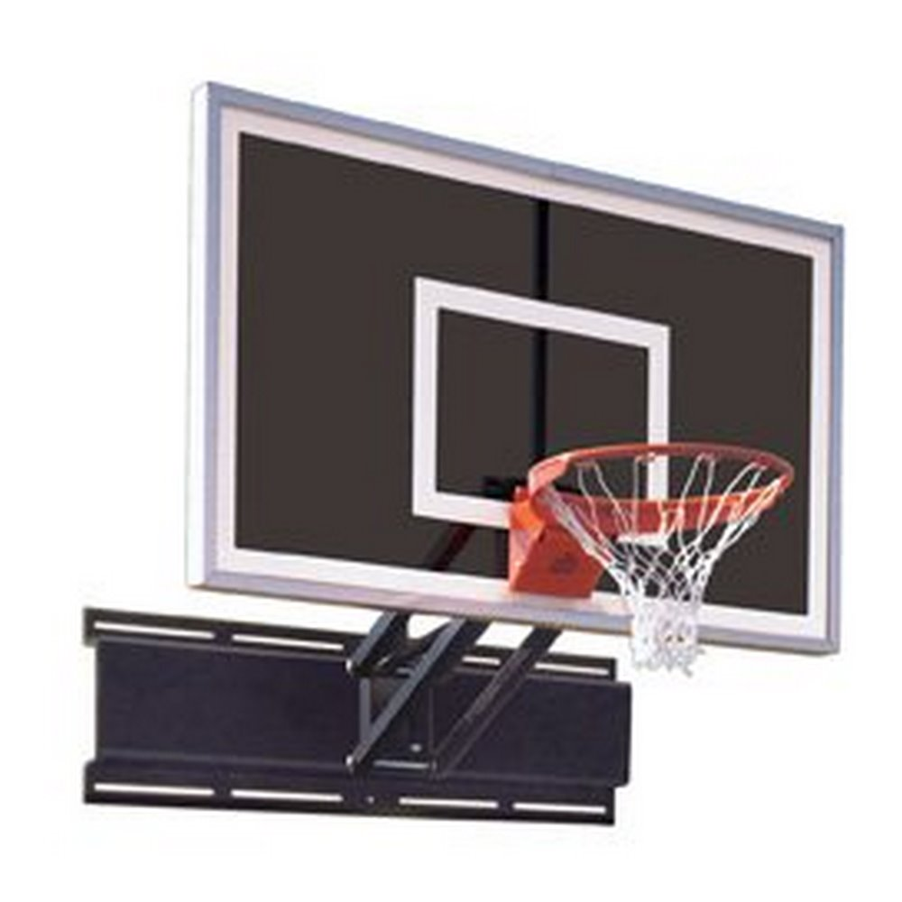 First Team UniChamp Eclipse Steel-Glass Adjustable Wall Mounted Basketball System44; Black44; Adjustable Wall Mounted Ba