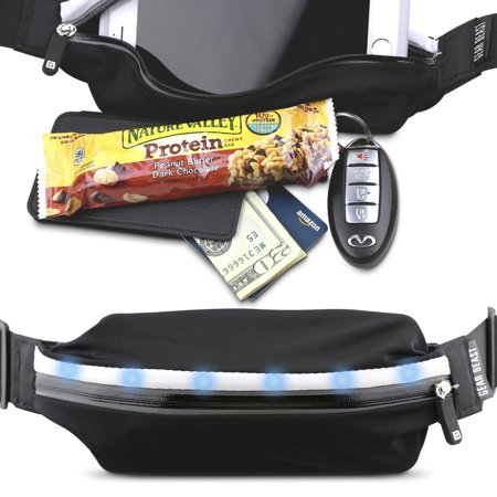 LED Reflective Safety Running Belt Fanny Pack Waist Bag, ID And Key Holder, Slim Sport And Travel Pack Holds Cell Phones Including iPhone X Xs Max Xr 8 7 6s -