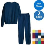 Hanes Men's EcoSmart Fleece Crew and Pant Set, 2 pack