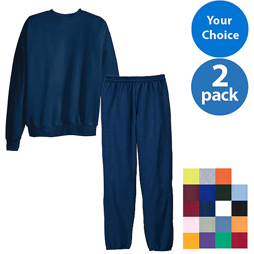 Hanes Mens EcoSmart Fleece Crew and Pant Set, 2 pack